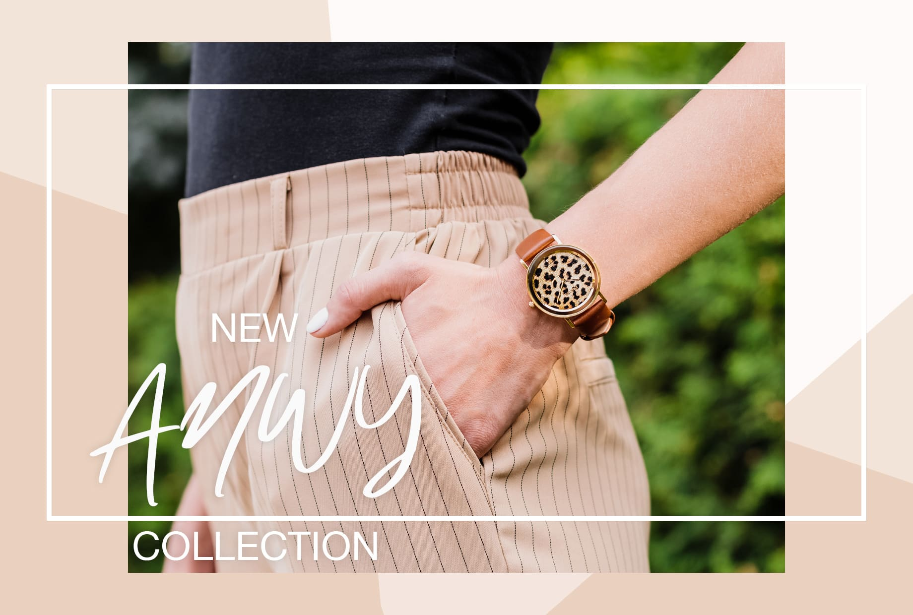 New AnWy Collection with Animal Print by Jowissa. Woman with hand in her pocket wearing a swiss made ladies watch