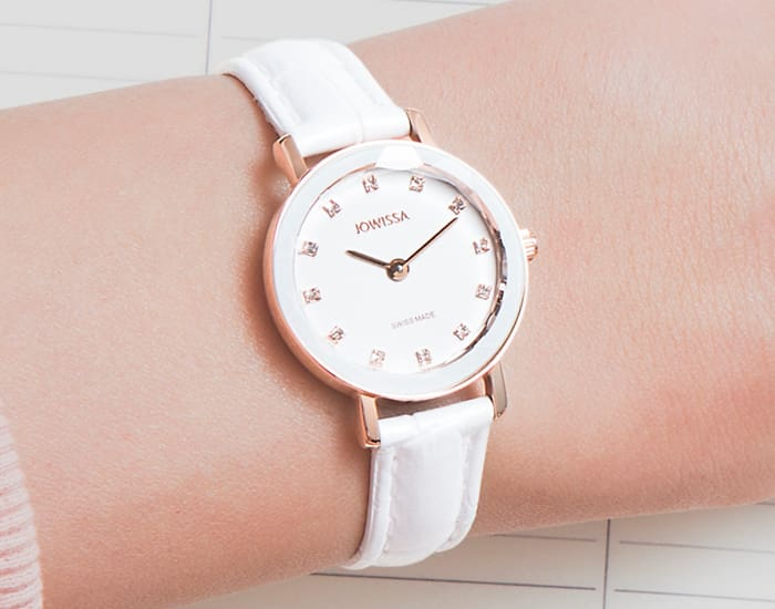 Aura a Collection of Modern Jewellery Watches with a Faceted Crystal Bezel by Jowissa all Swiss Made