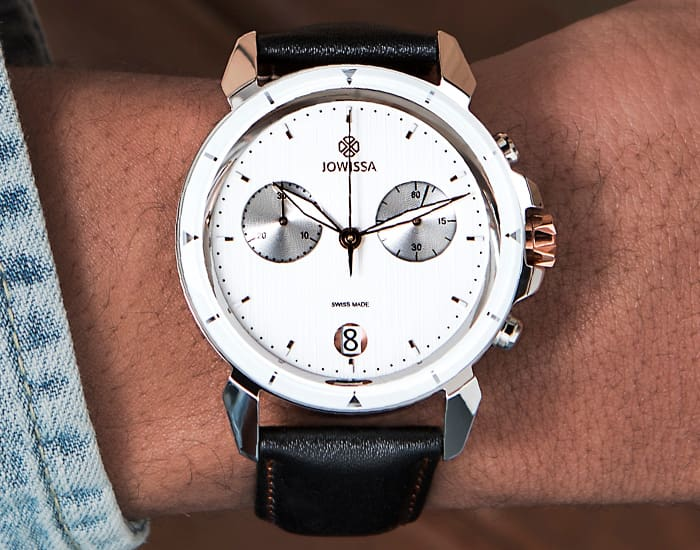 Man wearing white LeWy 6 Swiss Chronograph for men by Jowissa in 42mm size