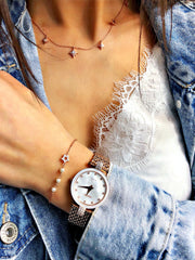 Jowissa Trendy Swiss Jewelry Watches in white mother of pearl and rose gold case