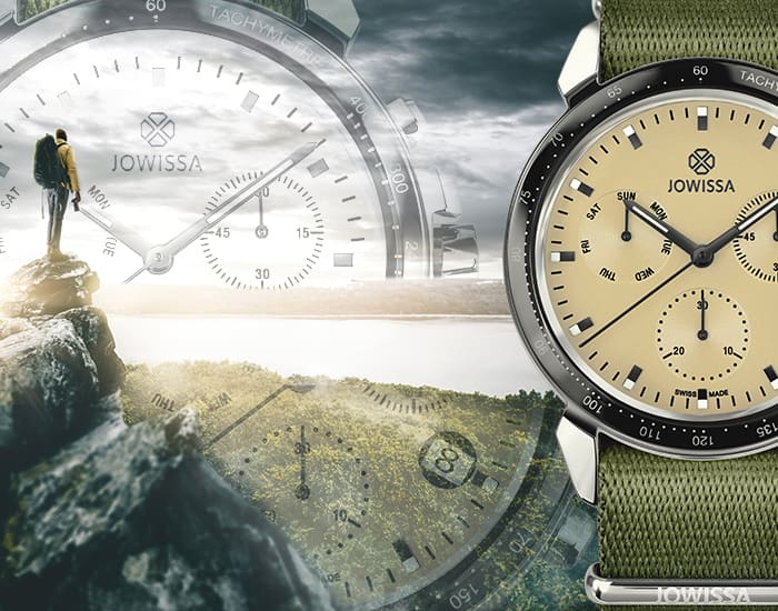 Mobile Carousel banner of LeWy Swiss Made outdoor gents watches and chronographs by Jowissa