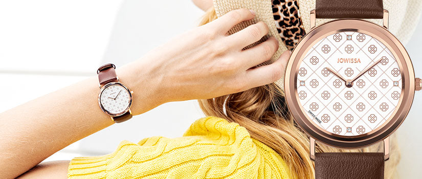 Mobile collection banner of AnWy Swiss Made ladies watches by Jowissa, woman touching her hair