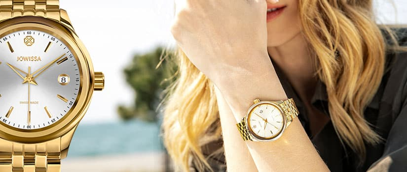 Tiro Swiss ladies watch by Jowissa visible on a wirst with beach in the background mobile version