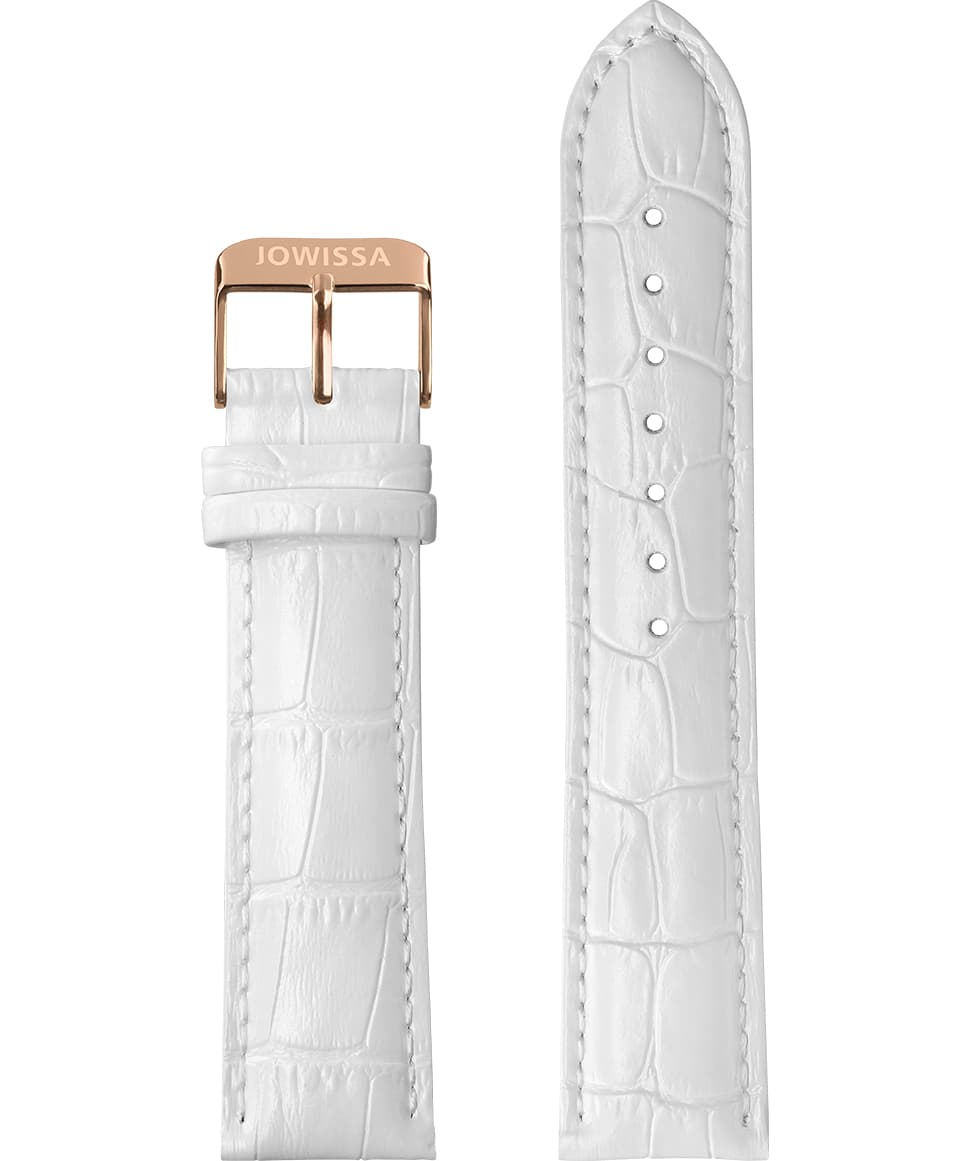 E3.1157 Jowissa  18mm, Mat Alligator Watch Strap white / rose, Genuine Leather Front View - Mattes Alligator Uhrenarmband, weiß / rosa, echtes Leder, Vorderseite - Mat Alligator Bracelet de montre, blanc / rose, cuir véritable, Vue de face - Mat Cinturino Alligatore, bianco / rosa, cuoio genuino, vista frontale - Mat cocodrilo correa de reloj, blanco / rosa, cuero auténtico, Vista de frente