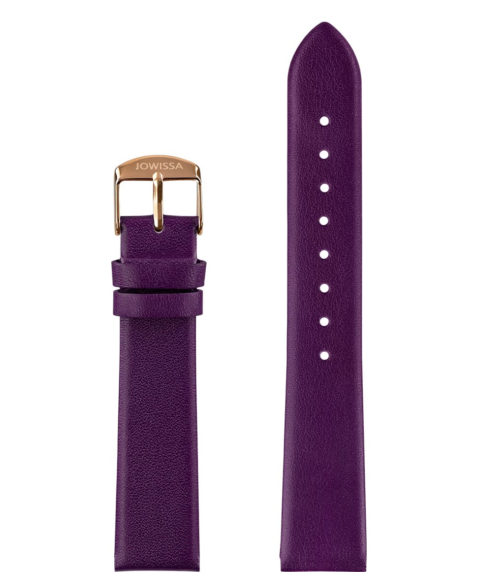 E3.1332 Jowissa  18mm, Plain Mat Watch Strap purple / rose, Genuine Leather Front View - Mattes Uhrenarmband, lila / rose, echtes Leder, Vorderseite - Bracelet, violet / rose, cuir véritable, Vue de face - Cinturino Mat, viola / rosa, cuoio genuino, vista frontale - Llanura Mat correa de reloj, violeta / rosa, cuero auténtico, Vista de frente