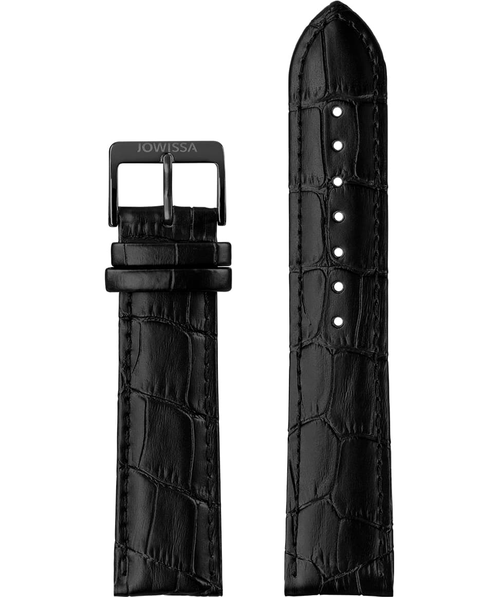 E3.1053 Jowissa  22mm, Mat Alligator Watch Strap black, Genuine Leather Front View - Mattes Alligator Uhrenarmband, schwarz, echtes Leder, Vorderseite - Mat Alligator Bracelet, noir, cuir véritable, Vue de face - Mat Alligatore Cinturino, nero, cuoio genuino, vista frontale - Mat cocodrilo correa de reloj, negro, cuero auténtico, Vista de frente
