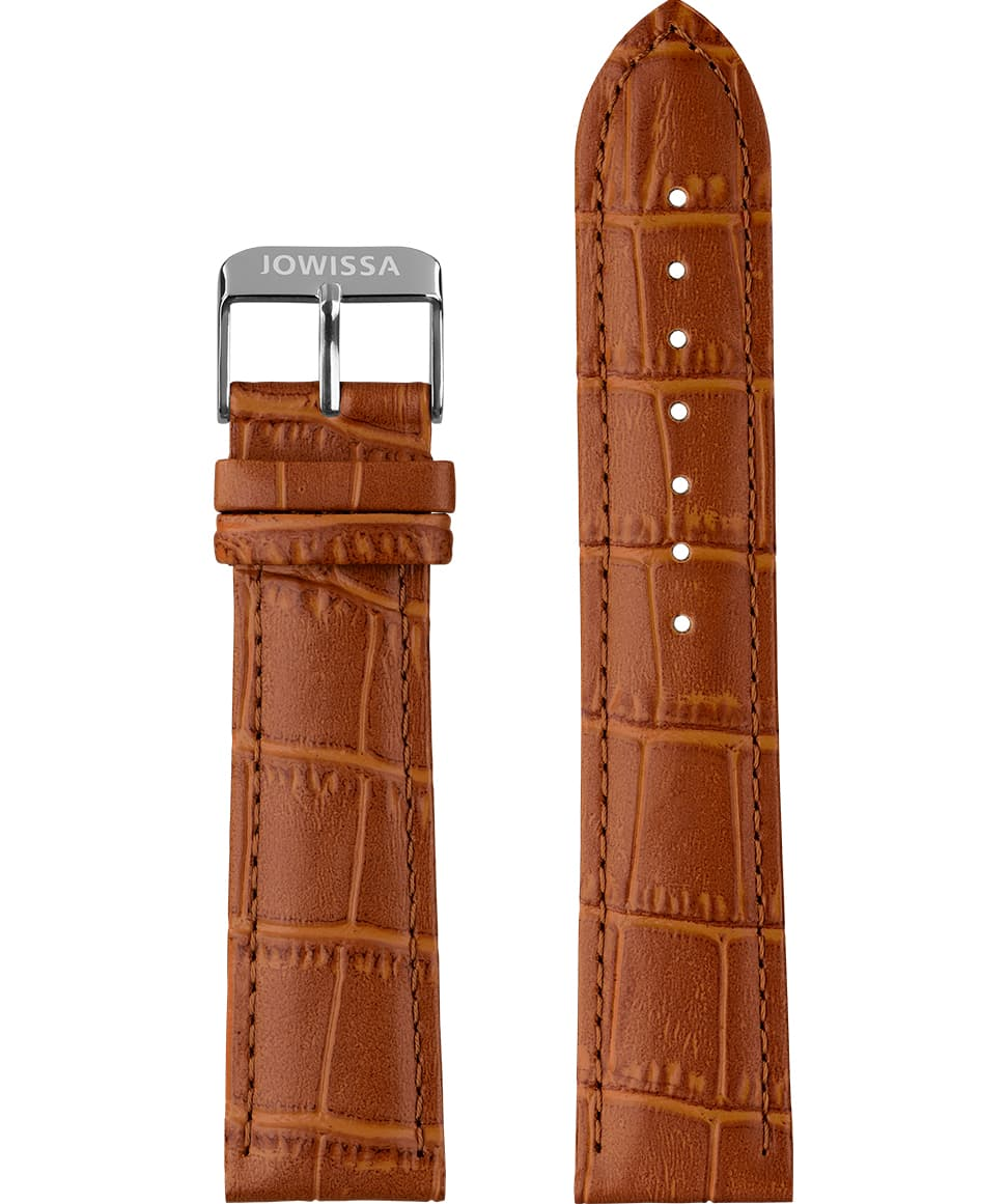 Front View of 22mm Brown / Silver Mat Alligator Watch Strap E3.1234 by Jowissa