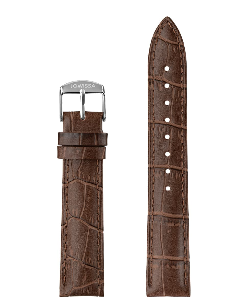 Front View of 18mm Brown / Silver Mat Alligator Watch Strap E3.1464.L by Jowissa