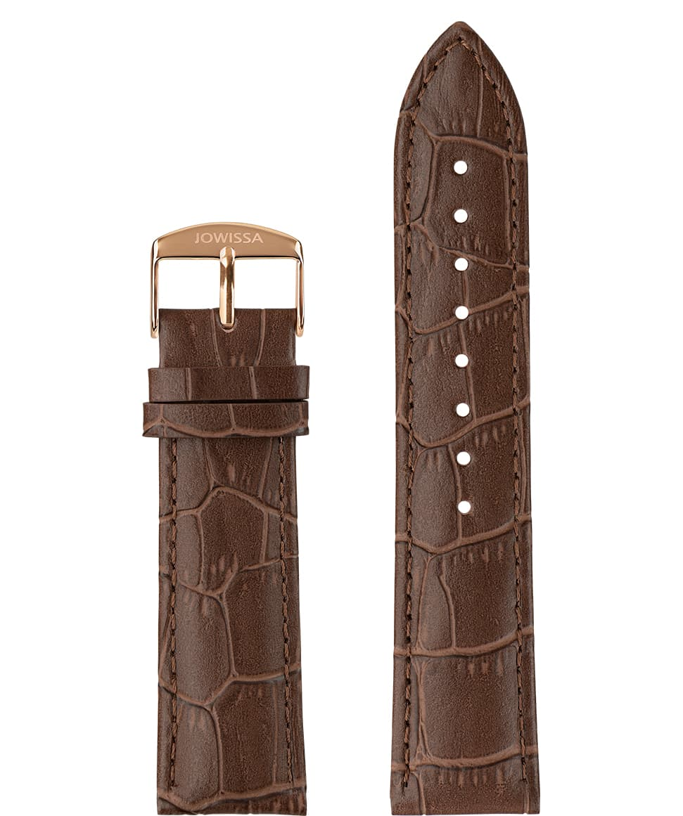 E3.1057 Jowissa  22mm, Mat Alligator Watch Strap brown / rose, Genuine Leather Front View - Mattes Alligator Uhrenarmband, braun / rosa, echtes Leder, Vorderseite - Mat Alligator Bracelet, marron / rose, cuir véritable, Vue de face - Mat Cinturino Alligatore, marrone / rosa, cuoio genuino, vista frontale - Mat cocodrilo correa de reloj, marrón / rosa, cuero auténtico, Vista de frente