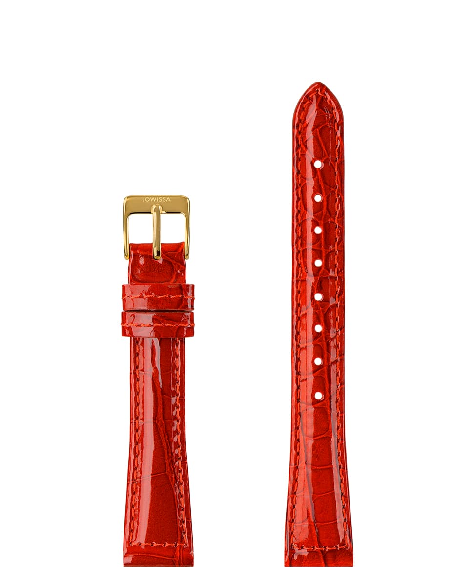 Front View of 15mm Red / Gold Glossy Croco Watch Strap E3.1475.M by Jowissa