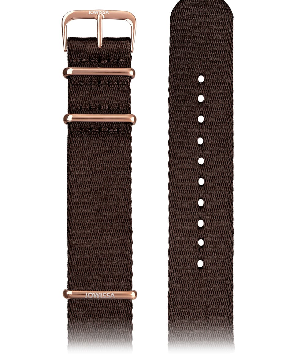 E3.1299 Jowissa  22mm, Watch Strap brown / rose, polyester Front View - Uhrenarmband, braun / rosa, Polyester, Vorderseite - Bracelet de montre, marron / rose, polyester, Vue de face - Watch Strap, marrone / rosa, poliestere, vista frontale - Mira la correa, marrón / rosa, poliéster, Vista de frente