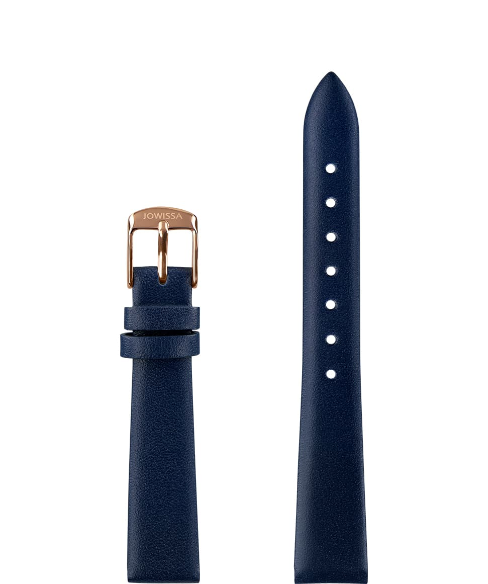 Front View of 15mm Blue / Rose Plain Mat Watch Strap E3.1449.M by Jowissa