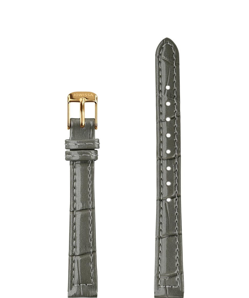 Front View of 12mm Grey / Gold Glossy Croco Watch Strap E3.1468.S by Jowissa