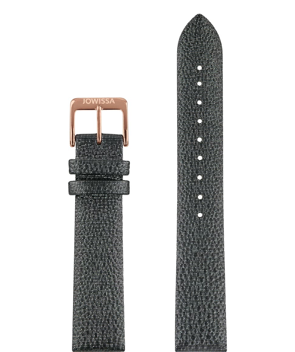 E3.1108 Jowissa  18mm, Stingray Watch Strap anthracite / rose, pu  Front View - Stingray-Uhrenarmband, Anthrazit / Rose, PU, ​​Vorderseite - Montre bracelet Stingray, anthracite / rose, pu, Vue de face - Stingray Cinturino, antracite / rosa, pu, vista frontale - Correa reloj raya, antracita / rosa, de la PU, Vista de frente