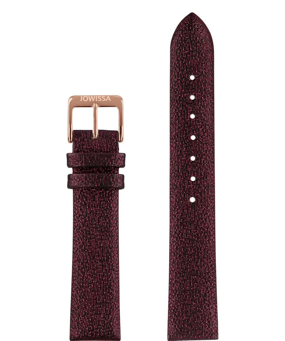 E3.1112 Jowissa  18mm, Stingray Watch Strap bordeaux red / rose, pu  Front View - Stingray-Uhrenarmband, Bordeauxrot / Rose, PU, ​​Vorderseite - Montre bracelet Stingray, rouge bordeaux / rose, pu, Vue de face - Cinturino Stingray, rosso bordeaux / rosa, pu, vista frontale - Correa reloj raya, rojo burdeos / rosa, de la PU, Vista de frente