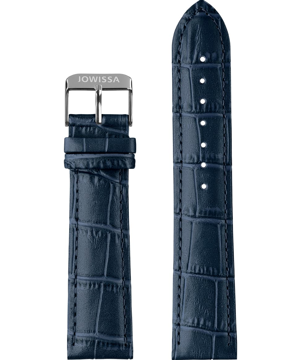 Front View of 22mm Blue / Silver Mat Alligator Watch Strap E3.1121 by Jowissa