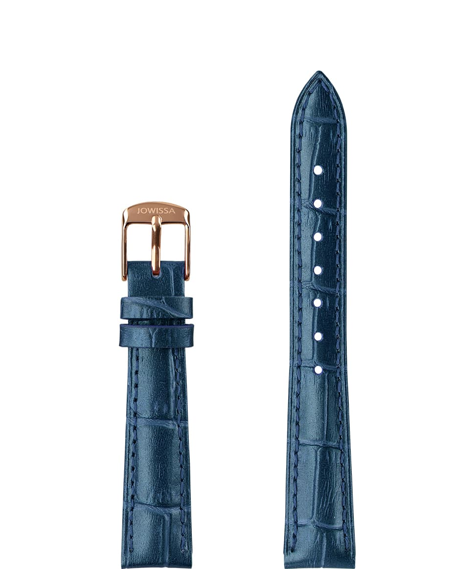 Front View of 15mm Blue / Rose Pearl Croco Watch Strap E3.1448.M by Jowissa
