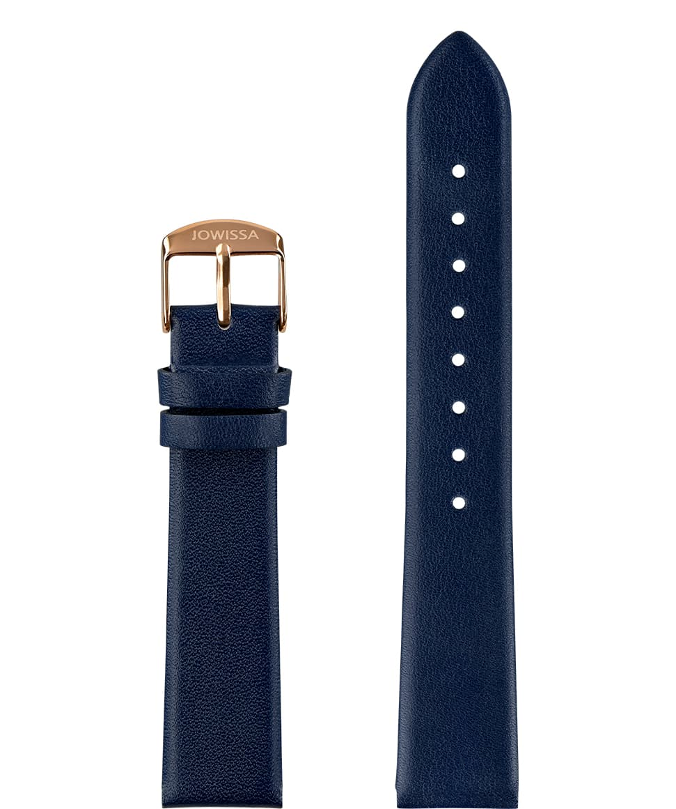 Front View of 18mm Blue / Rose Plain Mat Watch Strap E3.1449.L by Jowissa