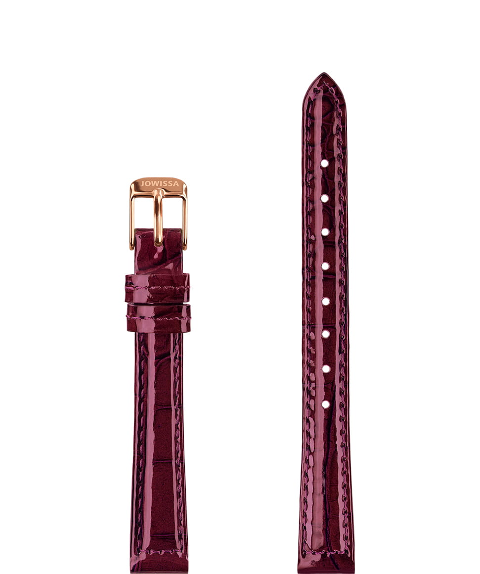 Front View of 12mm Bordeaux / Rose Glossy Croco Watch Strap E3.1458.S by Jowissa