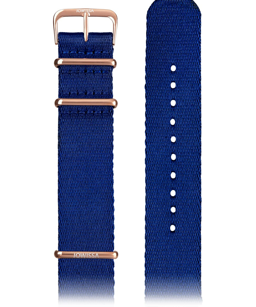 Front View of 22mm Blue / Rose Watch Strap E3.1295 by Jowissa