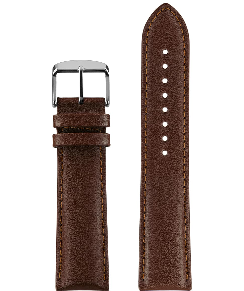 Front View of 22mm Brown / Silver Watch Strap E3.1364 by Jowissa