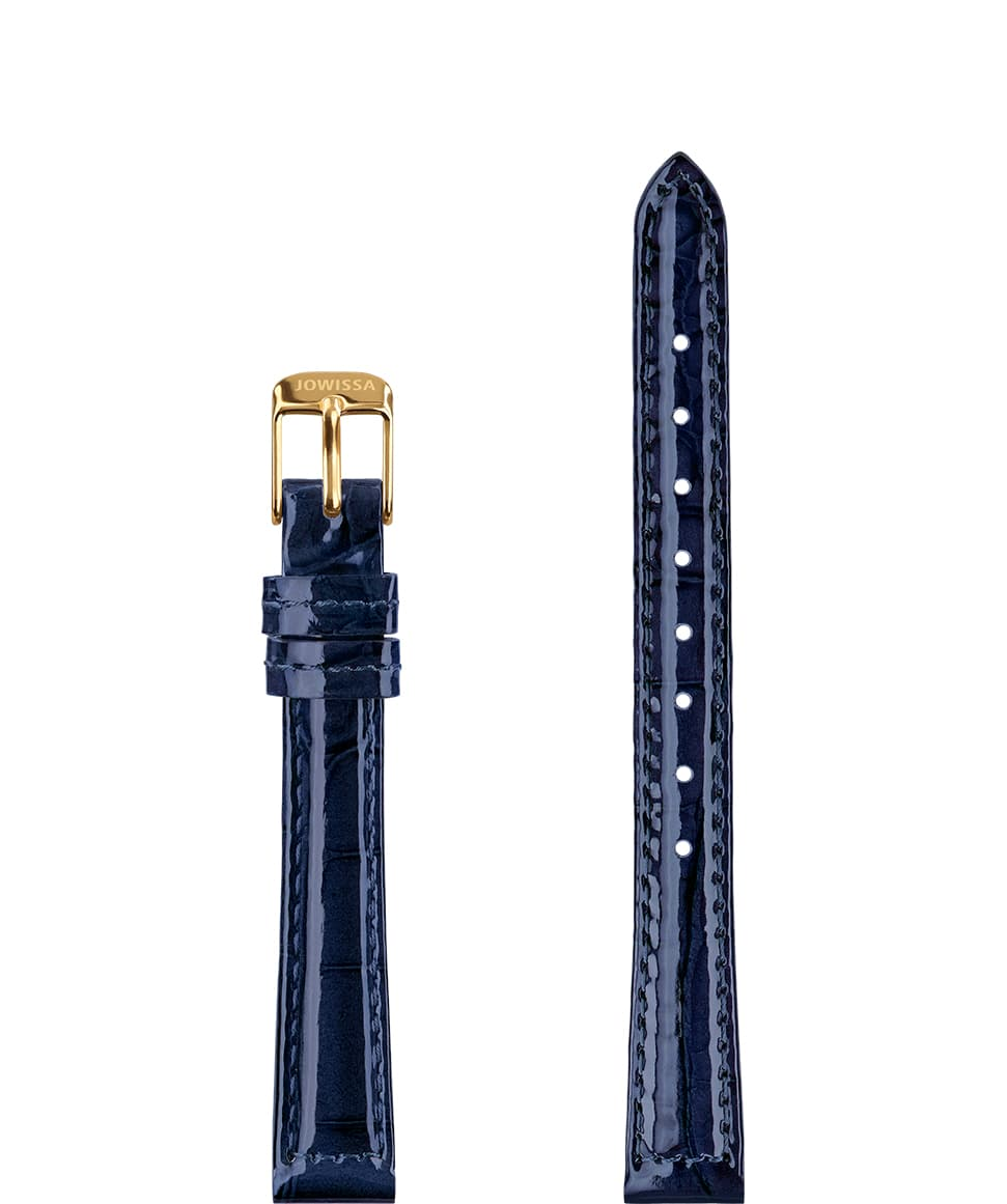 Front View of 12mm Blue / Gold Glossy Croco Watch Strap E3.1451.S by Jowissa