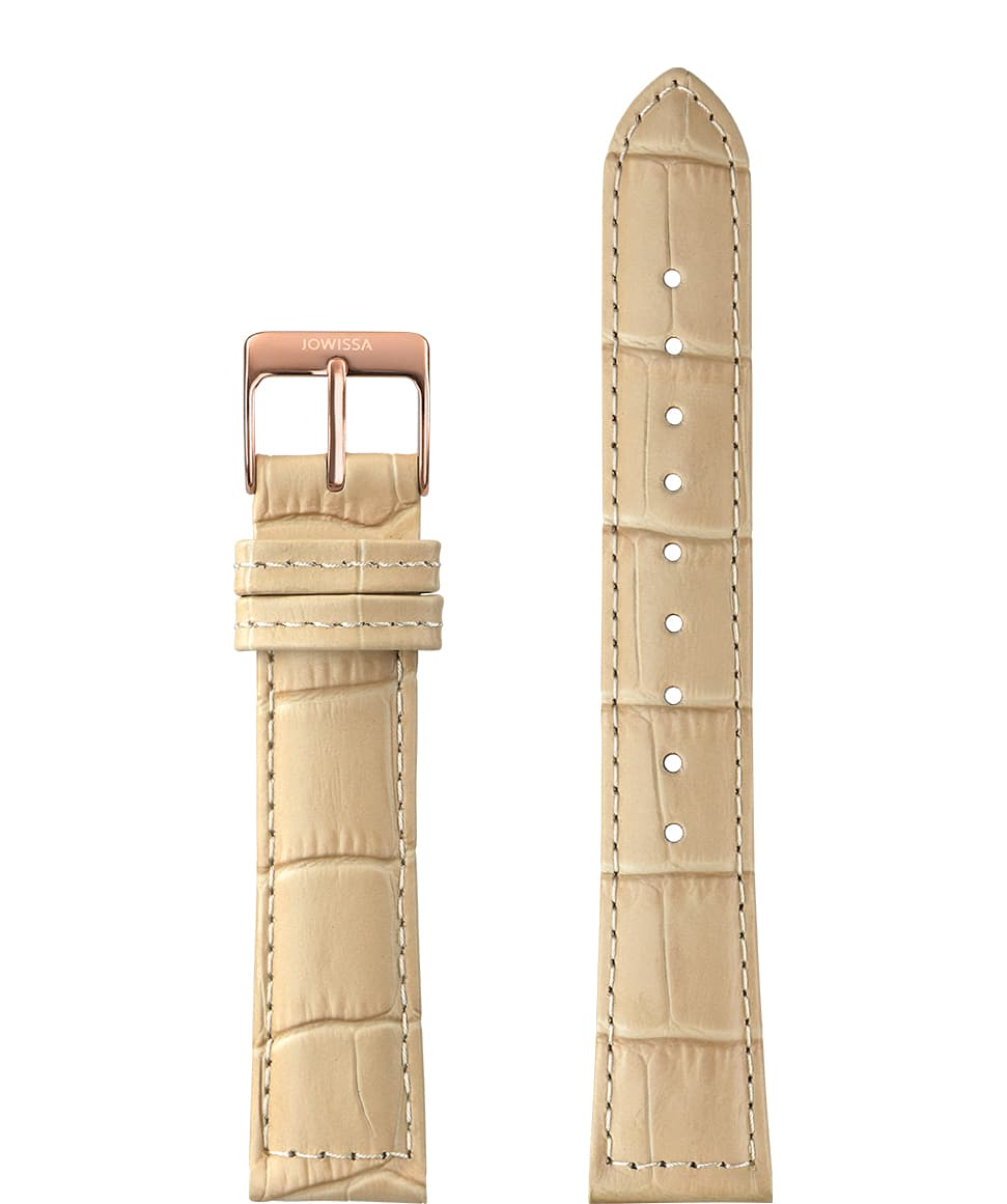 Front View of 18mm Brown / Rose Mat Alligator Watch Strap E3.1159 by Jowissa