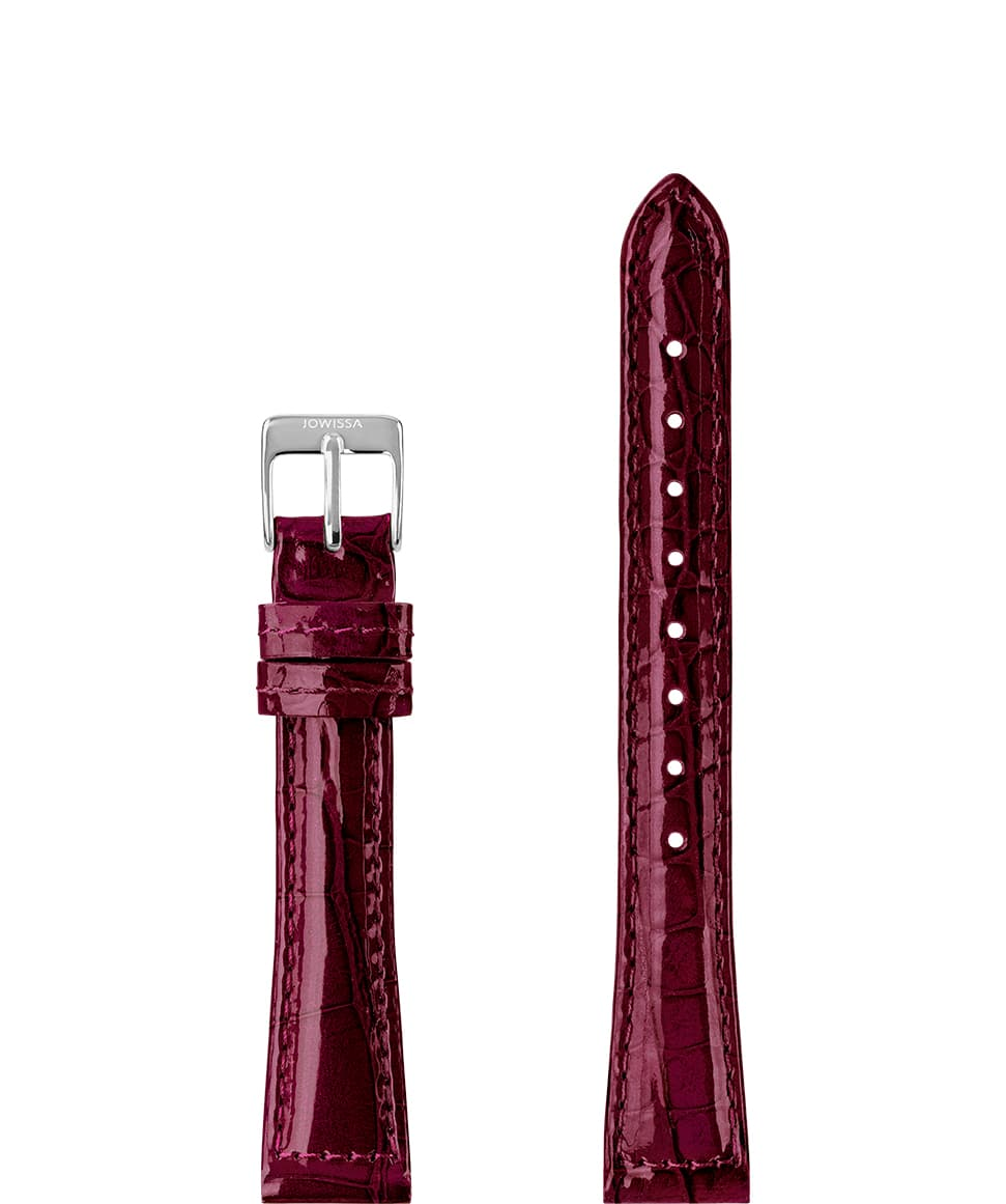 Front View of 15mm Bordeaux / Silver Glossy Croco Watch Strap E3.1460.M by Jowissa