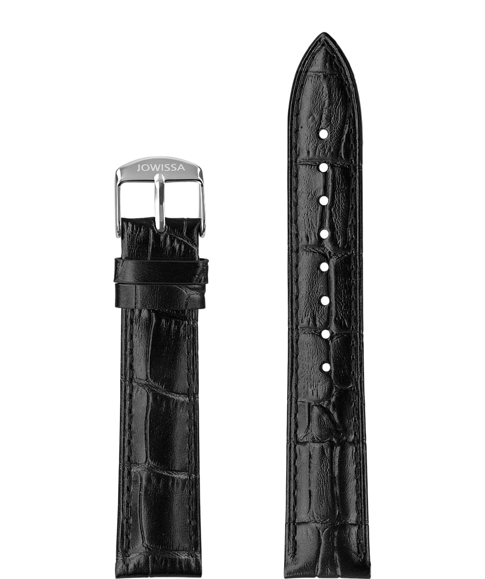 Front View of 18mm black Mat Alligator Watch Strap E3.1444.L by Jowissa