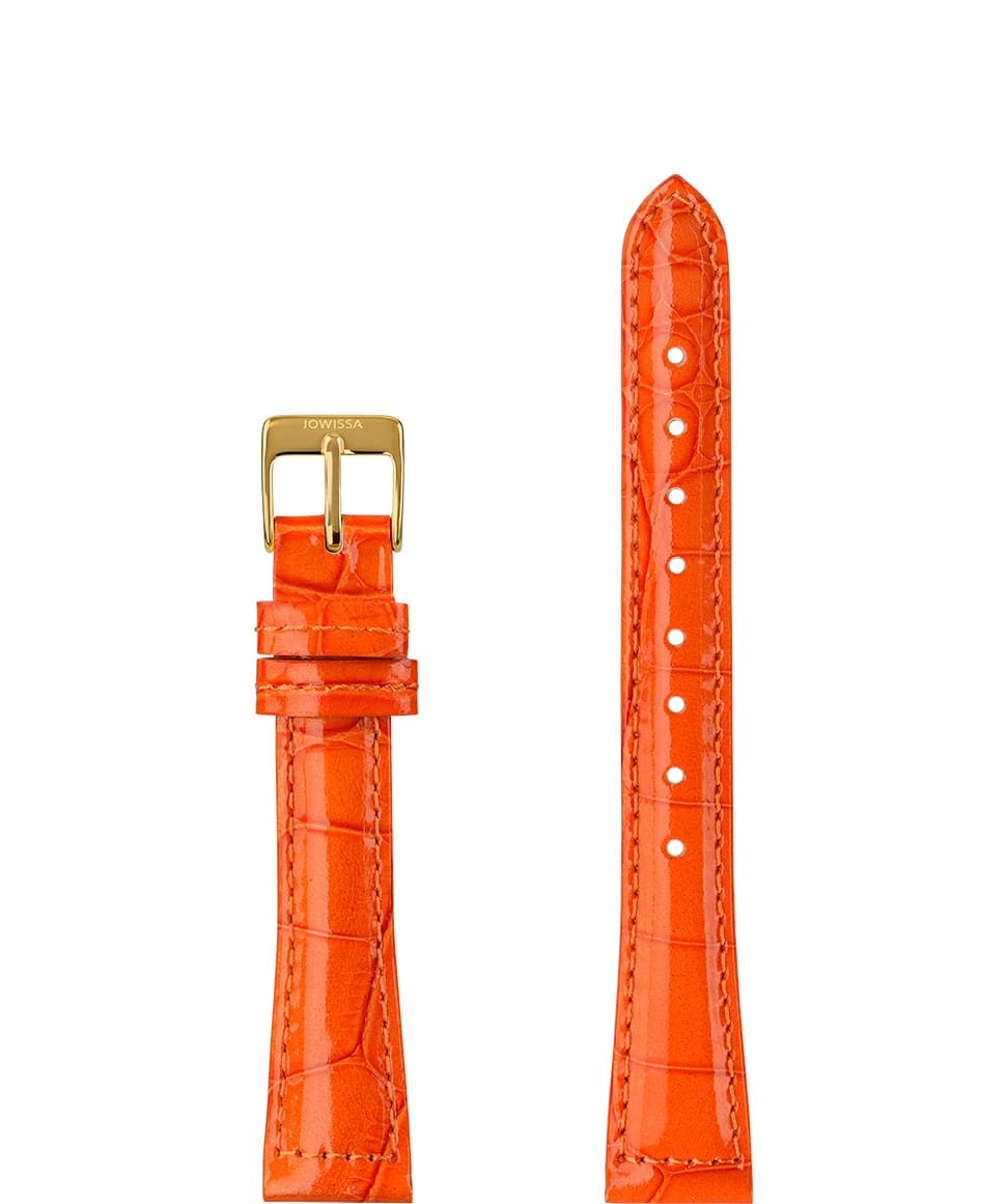 Front View of 15mm Orange / Gold Glossy Croco Watch Strap E3.1469.M by Jowissa