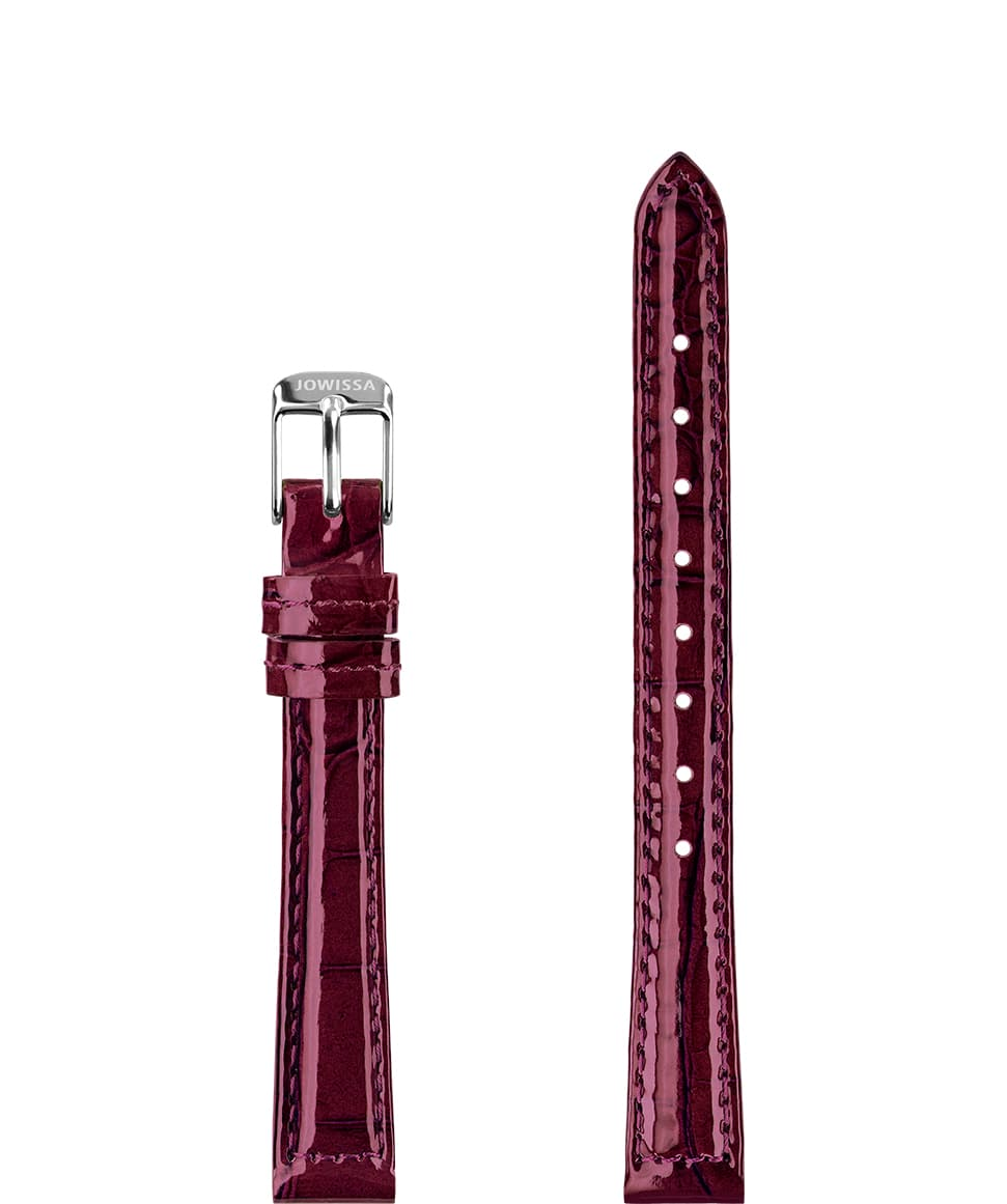 Front View of 12mm Bordeaux / Silver Glossy Croco Watch Strap E3.1460.S by Jowissa