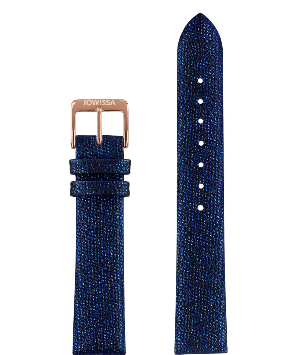 Front View of 18mm Blue / Rose Stingray Watch Strap E3.1113 by Jowissa