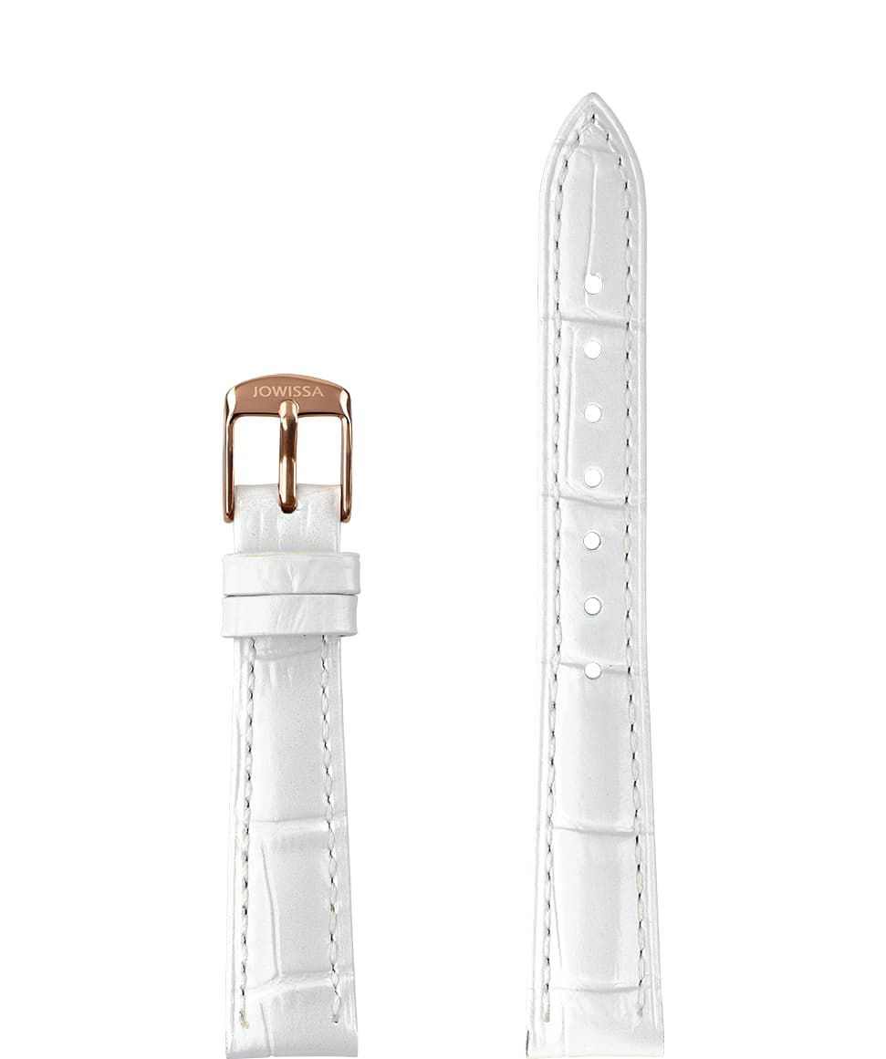 Front View of 15mm White / Rose Pearl Croco Watch Strap E3.1482.M by Jowissa