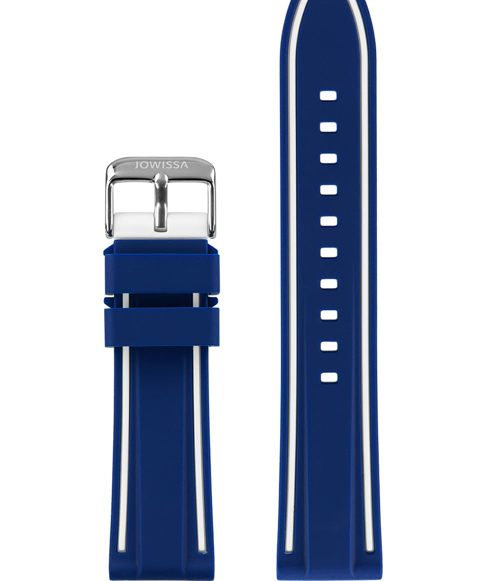 Front View of 22mm Blue / White / Silver Watch Strap E3.1361 by Jowissa