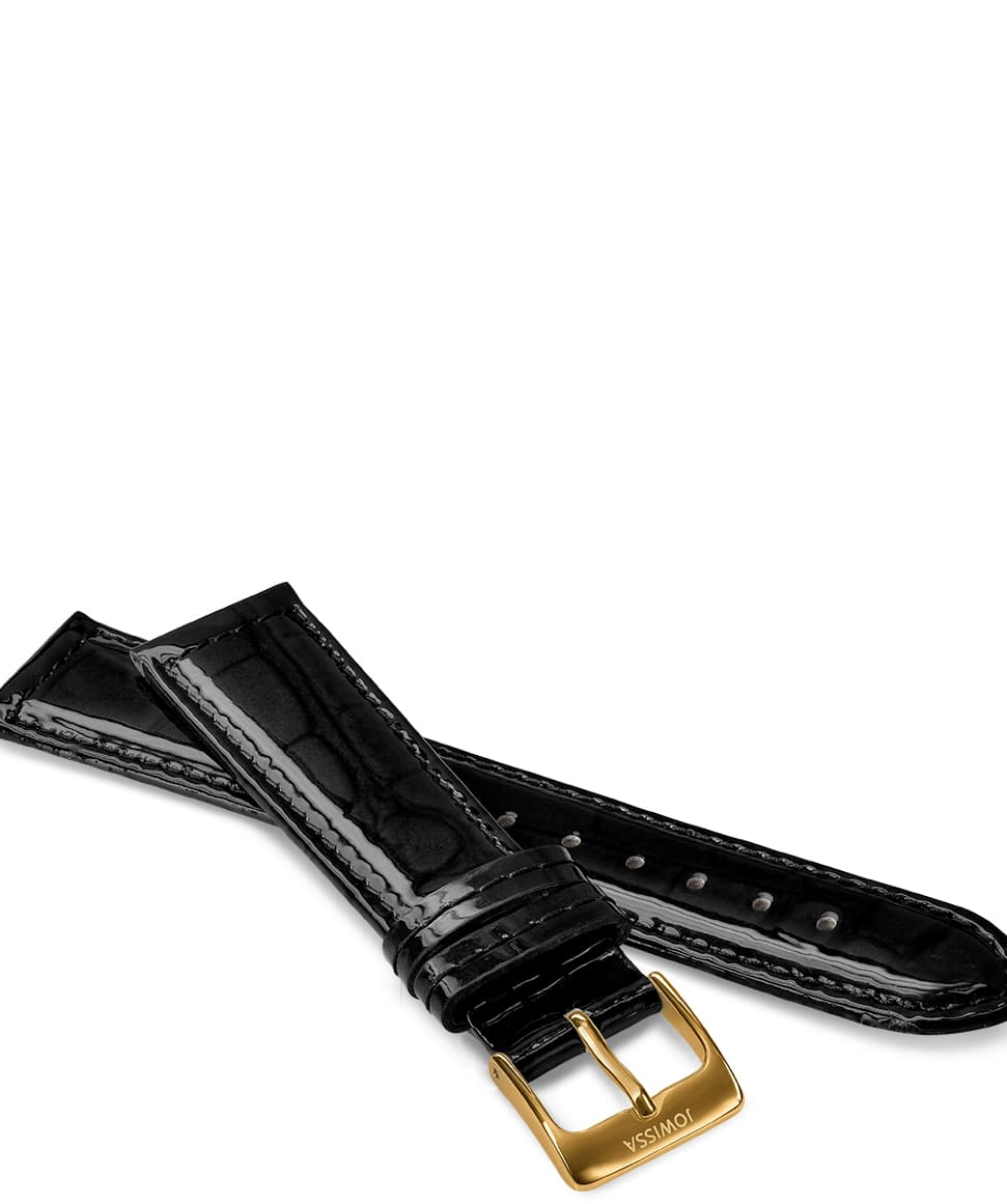 Front View of 18mm Black / Gold Glossy Croco Watch Strap E3.1439.L by Jowissa