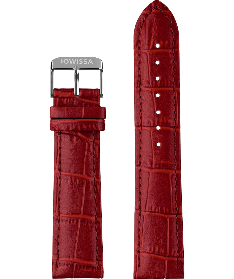 Front View of 22mm Red / Silver Mat Alligator Watch Strap E3.1122 by Jowissa