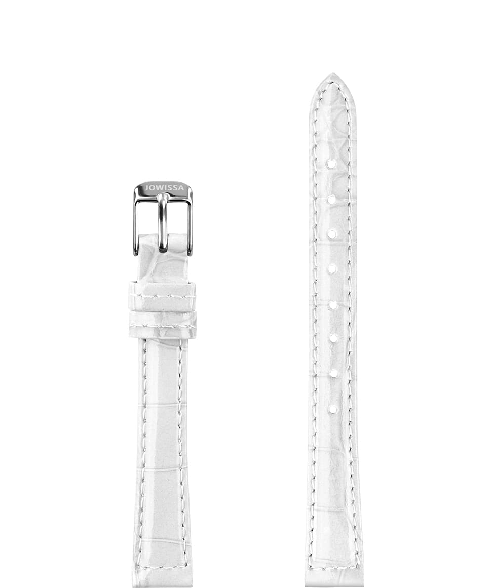 Front View of 12mm White / Silver Glossy Croco Watch Strap E3.1484.S by Jowissa