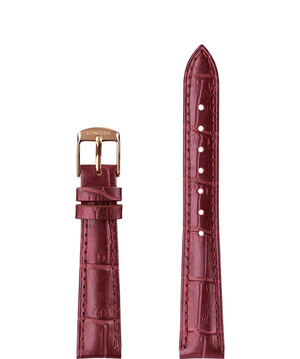 Front View of 15mm Wine red / Rose Pearl Croco Watch Strap E3.1486.M by Jowissa