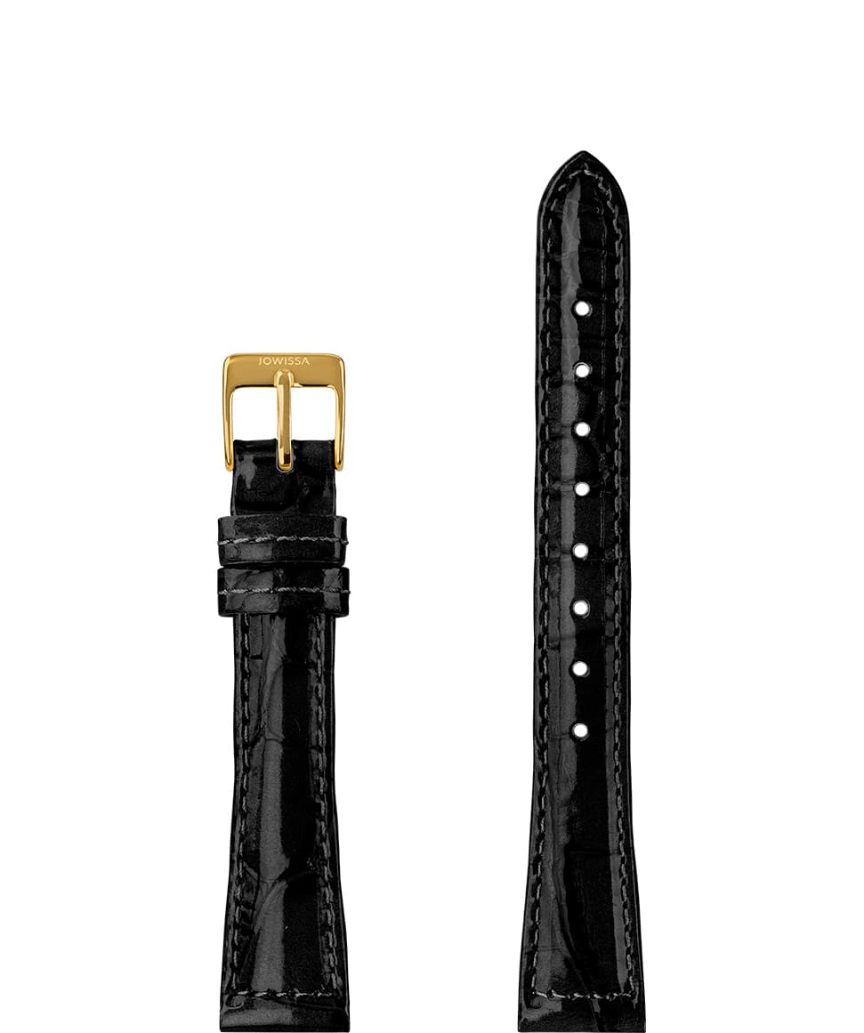 E3.1268 Jowissa  15mm, Glossy Croco Watch Strap black / gold (LB), Genuine Leather Front View - Glanz Kroko Uhrenarmband, schwarz / gold (LB), echtes Leder, Vorderseite - Brillant Croco Bracelet, noir / or (LB), en cuir véritable, Vue de face - Cinturino lucido Croco, nero / oro (LB), il cuoio genuino, vista frontale - Brillante correa de reloj de Croco, negro / oro (LB), cuero auténtico, Vista de frente