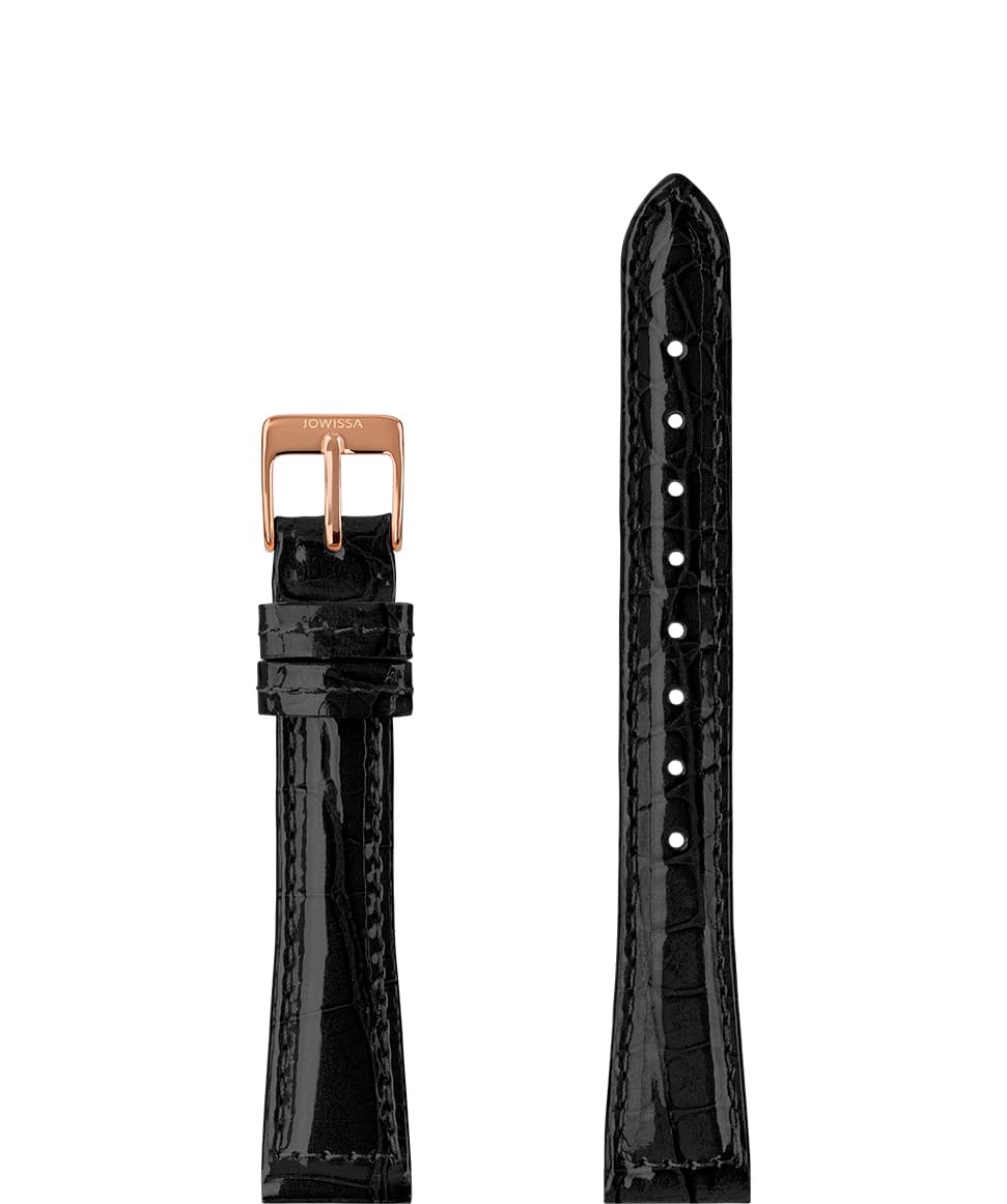 Front View of 12mm Black / Rose Glossy Croco Watch Strap E3.1440.S by Jowissa