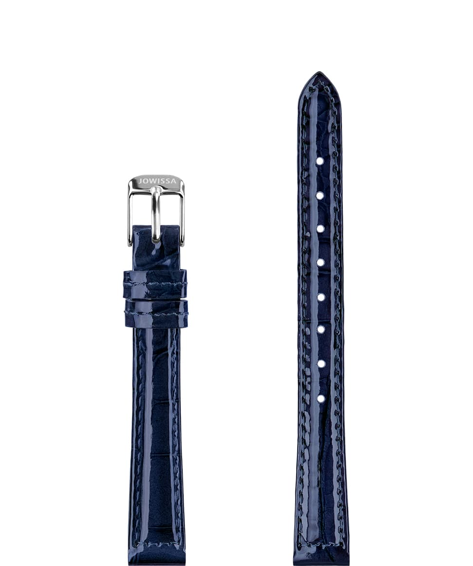Front View of 12mm Blue / Silver Glossy Croco Watch Strap E3.1453.S by Jowissa