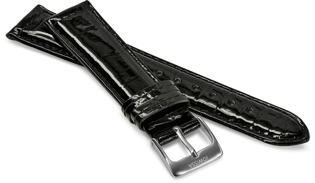 Front View of 18mm black Glossy Croco Watch Strap E3.1445.L by Jowissa