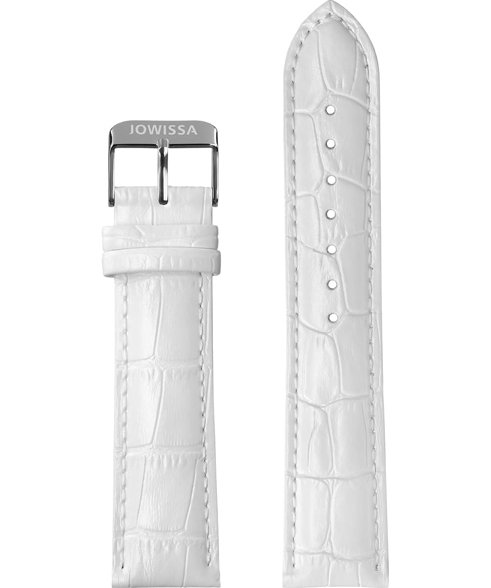 Front View of 22mm White / Silver Mat Alligator Watch Strap E3.1097 by Jowissa