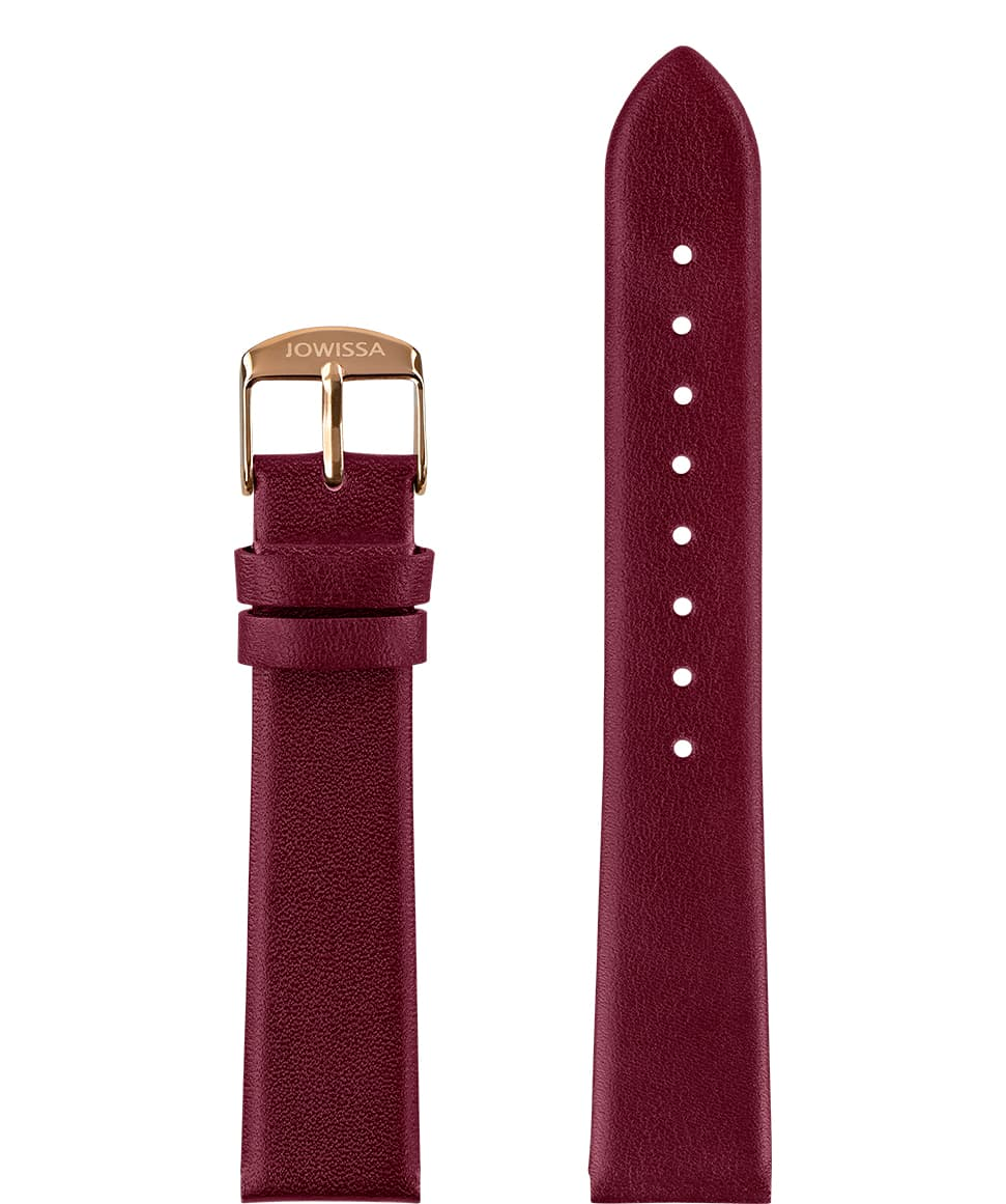 Front View of 18mm Bordeaux / Rose Plain Mat Watch Strap E3.1459.L by Jowissa