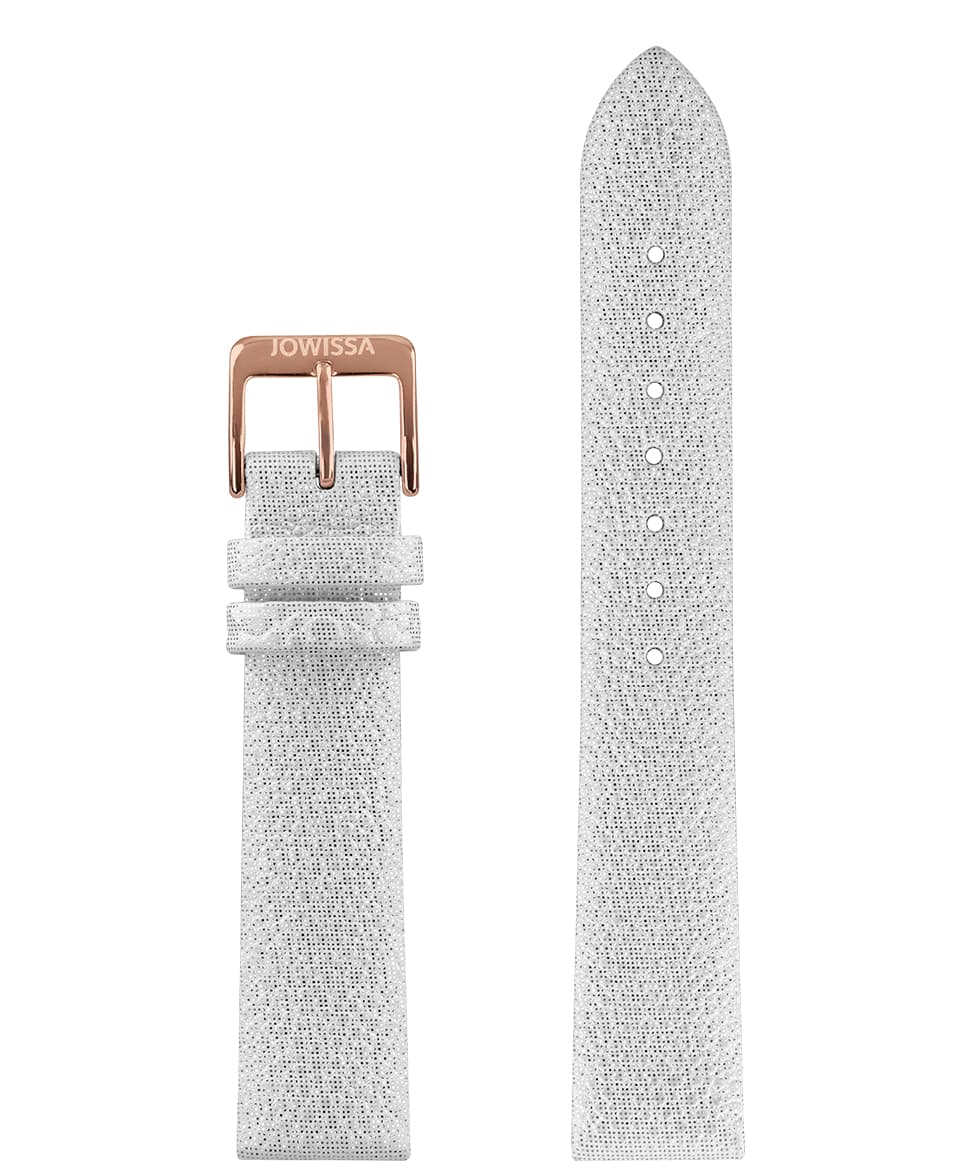 Front View of 18mm White / Rose Stingray Watch Strap E3.1107 by Jowissa