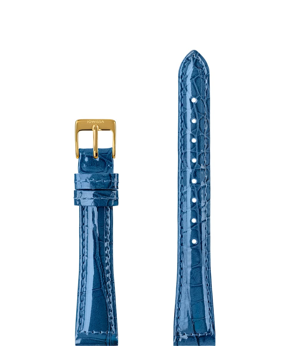 Front View of 15mm Blue / Gold Glossy Croco Watch Strap E3.1447.M by Jowissa