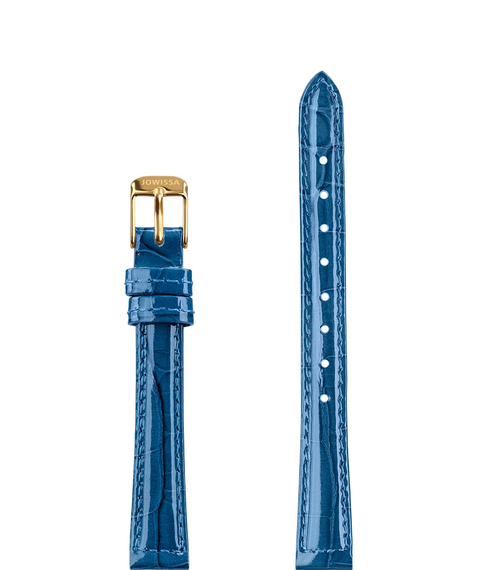 Front View of 12mm Blue / Gold Glossy Croco Watch Strap E3.1447.S by Jowissa
