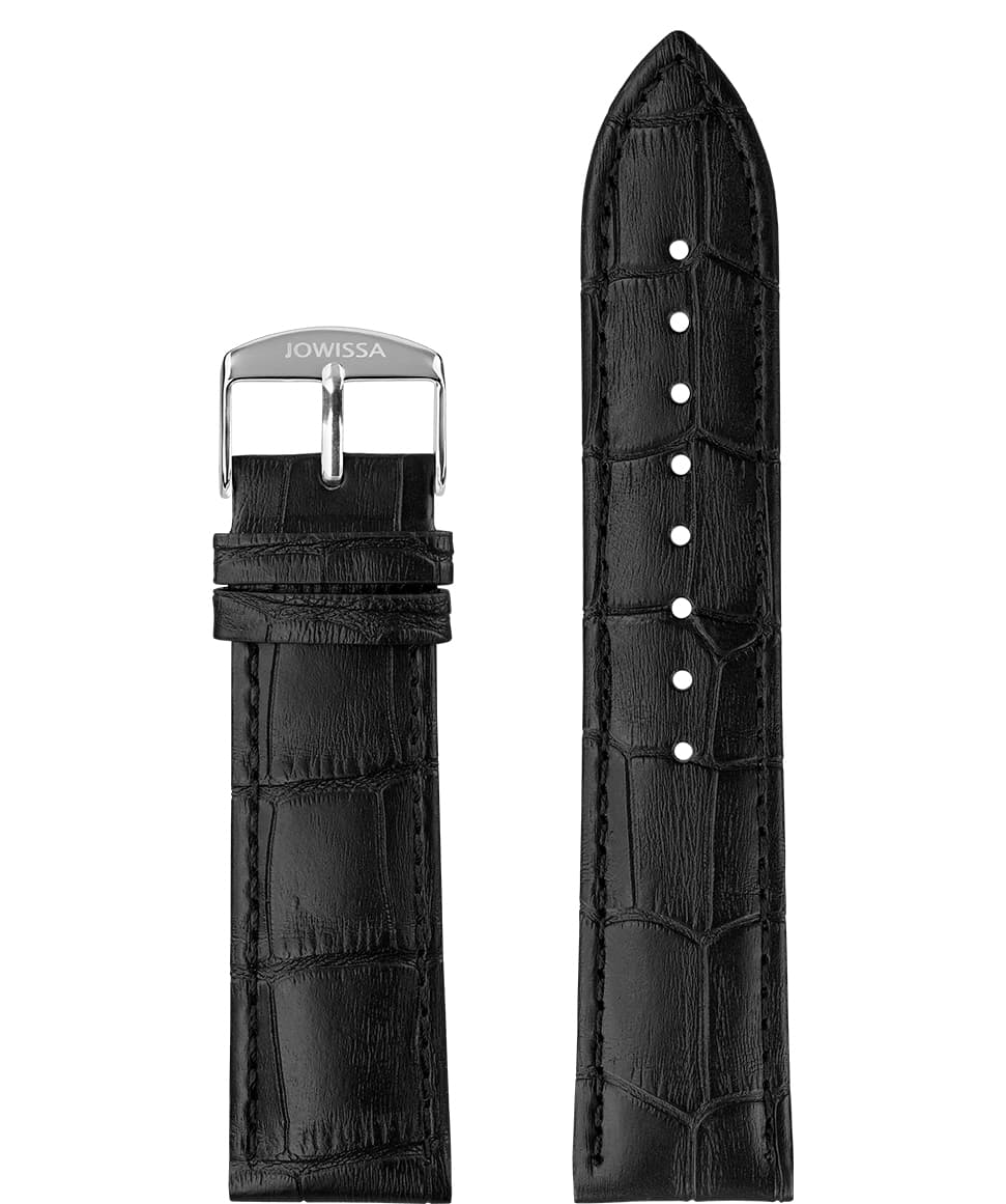 Front View of 22mm black Mat Alligator Watch Strap E3.1037 by Jowissa