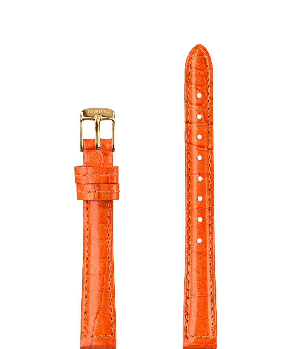 E3.035 Jowissa  12mm, Glossy Croco Watch Strap orange / gold, Genuine Leather Front View - Glanz Kroko Uhrenarmband, orange / gold, echtes Leder, Vorderseite - Montre bracelet brillant Croco, orange / or, cuir véritable, Vue de face - Glanz Kroko Cinturino, arancio / oro, il cuoio genuino, vista frontale - Croco brillante correa de reloj, naranja / oro, cuero auténtico, Vista de frente