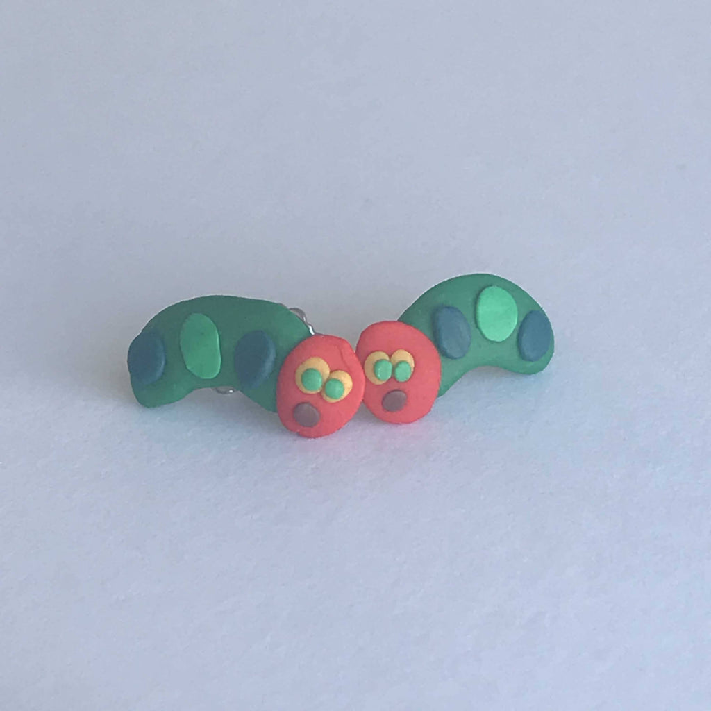 Hungry Caterpillar - Handcrafted Polymer Clay Stud Earrings